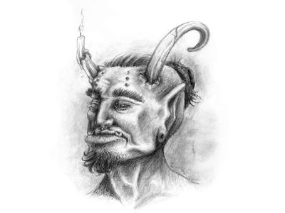 Orc Illustration traditional pencil graphite candle illustration devil goblin fantasy orc