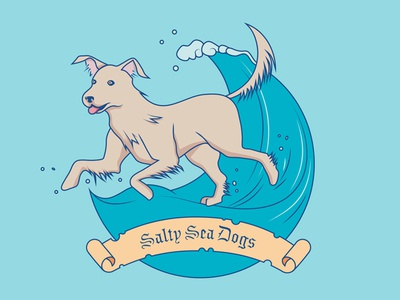 Salty Sea Dogs pirate badge blue wave water logo salty ocean sea dog