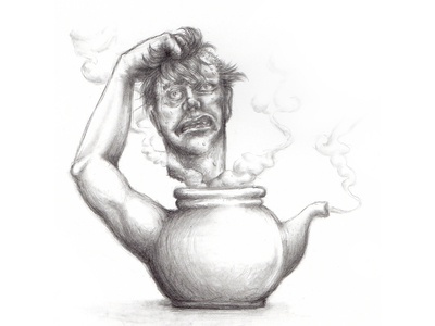 I'm a Little Tea Pot sketch drawing macabre steam head surreal tea pot tea