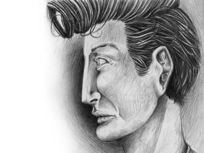 Teddy Boy graphite person value hair teddy boy pompadour face sketch drawing draw