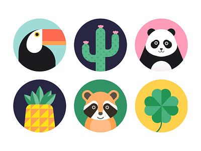 Avatar four-leaf clover raccoon pineapple panda cactus toucan icon app