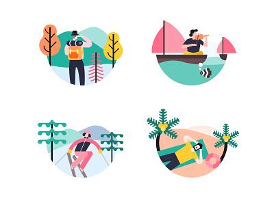 Traveling illustration logo ui icon sunbathing sunbath skiing ski boating boat hike hiking vacation trip traveling travel