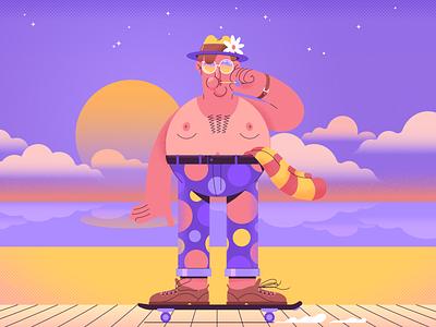 Skate cartoon illustration character design vector