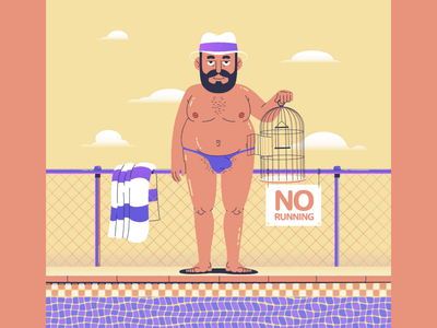 Budgie Smuggler flat cartoon character animation illustration character design after effects loop animated gif vector