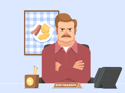 Ron Swanson character flat illustration character design vector