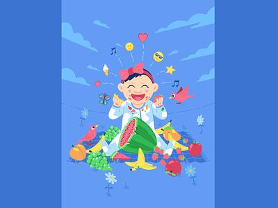 Birthday Girl cute food character flat cartoon illustration character design vector