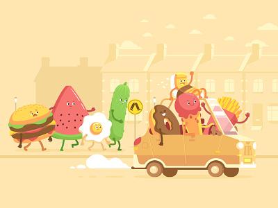 Apple - Today Tab - Movesum #1 donut sushi fries ice cream watermelon egg hamburger junk food food character character design