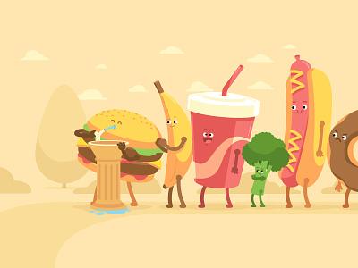 Apple - Today Tab - Movesum #2 character design character food slurpee hotdog cola broccoli junk food hamburger donut ice cream