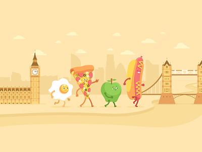 Apple - Today Tab - Movesum #3 character design character food apple junk food hotdog egg pizza