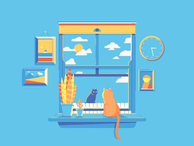 Sunday Afternoon Staring Contest house window pets animals cats vector illustration