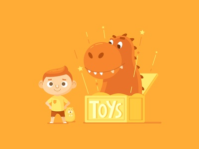 Timothy's Time Travelling Toy Box retro toys dinosaur kids line art vector character design