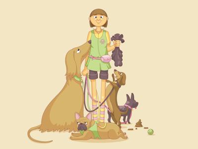 The Dog Walker woman girl dachshund french bulldog dogs cartoon vector character design