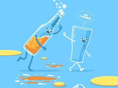 Headspace drinking alcohol mental health cartoon flat illustration character design vector