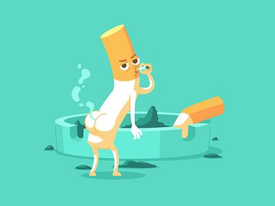 Cigarette Butt smoking character flat cartoon character design illustration vector