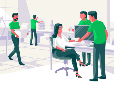 Exetel - Corporate Site Hero Header internet workplace office illustration vector