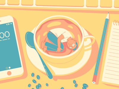 Morning Coffee workspace desk character designs flat  design design character design vector