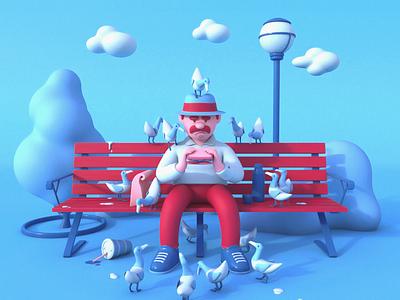 Lunch Break character design prorender cinema4d 3d illustration