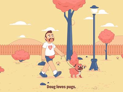 Doug. vector flat design cartoon dogs pugs drugs character design animation
