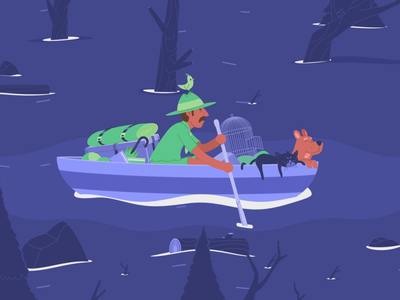 Canoe character design vector illustration loop animation animated gif