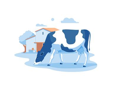 Lactaid Spot Illustrations farming milk cow illustration flat design vector