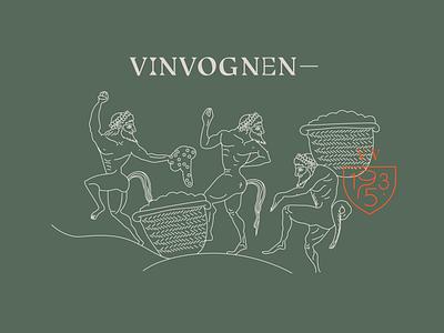 Vinvognen wine vinvognen vin wad icon logo branding design illustration graphic design dionysos god of wine