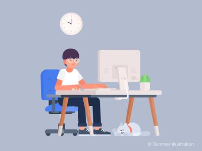 Meaningless work — Summer Illustrated office work summer illustration