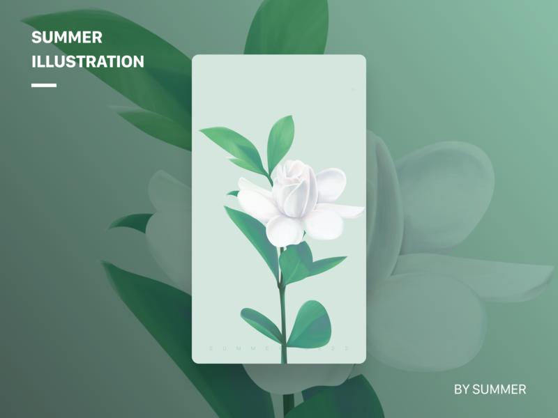 栀子花开 summer gardenia illustration flower