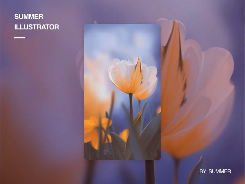 壁纸插画2,希望大家喜欢 summer flower tulip illustration