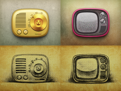 Radio and TV icons