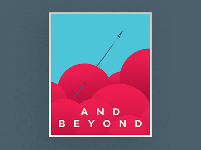 And Beyond blue red clouds space art deco illustrator poster vector illustration graphic design
