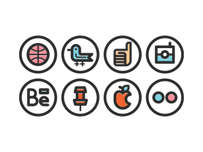 Socialmedia Icons Shot social icons instagram dribbble flickr apple pinterest behance facebook twitter free