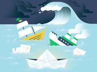 Liquidation Worries ship smoke sink boats wave blue contract kira storm water