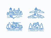 Nova Scotia Adventure house trees jeep blue whale sea water lighthouse canada novascotia