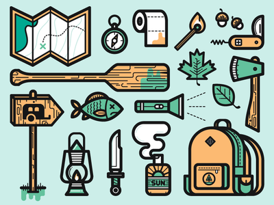 Camping Icons camping icons leaf map backpack light flash lotion axe knife toilet fish