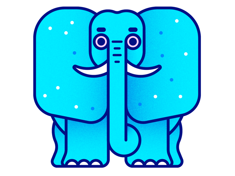 Elephant pink blue elephant illustration kevinmoran