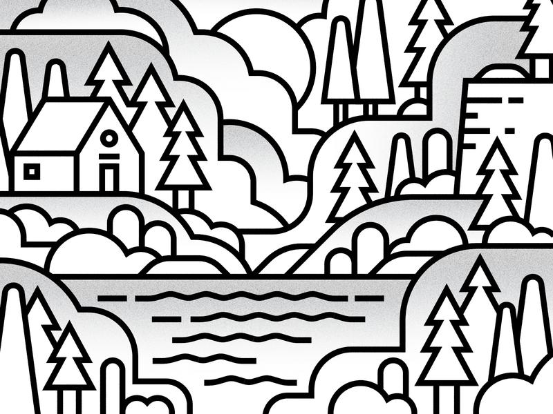 Woodlands noise gradient blackstroke moniline linear water cabin trees