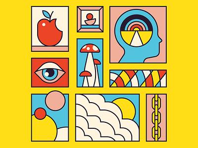 Trippy! trip clouds hamburger profile head yellow blue red illustration monoline mushrooms