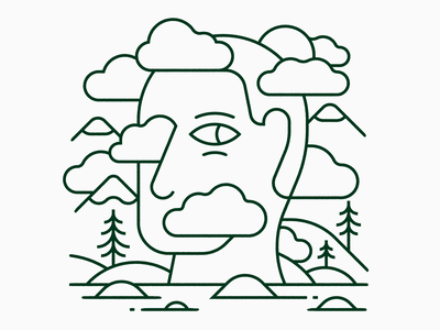 Head in the Clouds vector illustration monolinear monoline linear mountains trees clouds eyes face head