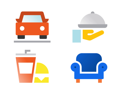 Grid System Icons process design icons red burger food hand dinner car couch