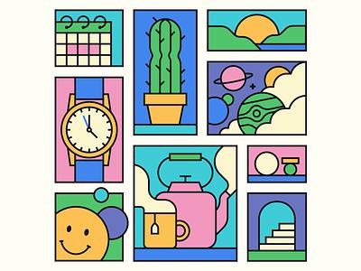 Album Cover Art pastels cactus planet watch artwork monoline vector music art album