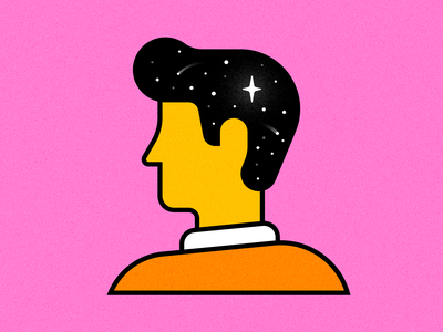 Spaced kevin monoline space profile hair shirt pink illustration stars