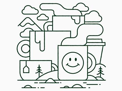 ☕☕☕ help collage happy mugs graphic design monoline vector illustration coffee