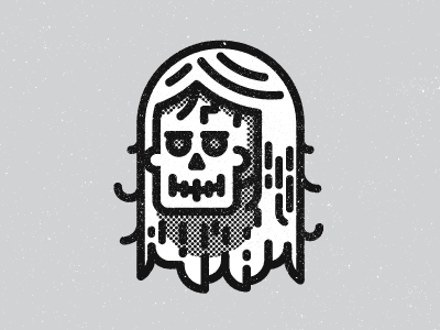 Skull skull wig hair halftone black grey kevinmoran