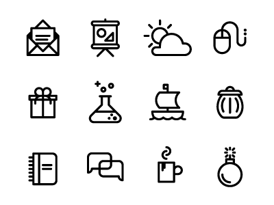 Multipurpose Icons icons ux ui boat clouds mail garbage line vector download free