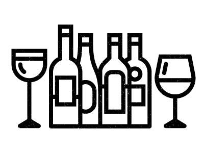 Wine bottles halftones kevinmoran white black glasses wine
