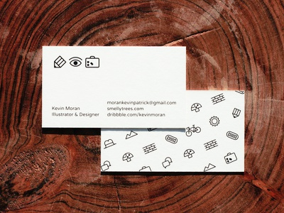 Business Cards designer illustrator kevinmoran eye brief pencil hotdog hat bike cards business