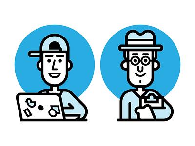 Hats people glasses kevinmoran clipboard computer hats blue