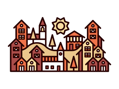 Little Town community store tower bell windows vector red sun house kevinmoran town