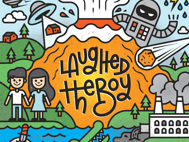 Laughed The Boy alligator skull smoke house water ufo people volcano robot cover toronto album