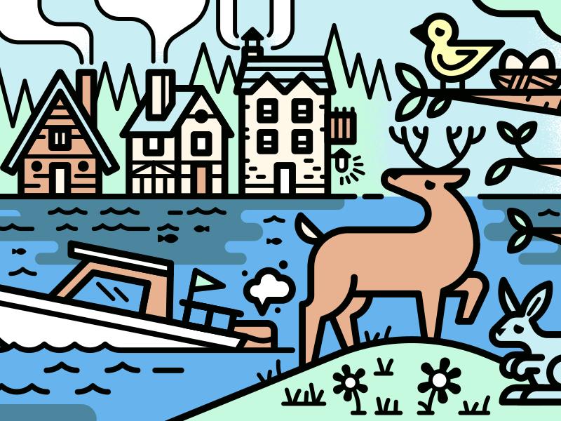 🌲🏠🍃 trees lake boat rabbit bird green deer cottage